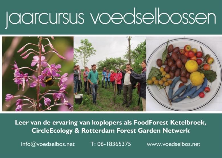 flyer jaarcursus voedselbossen 2018 - voorkant